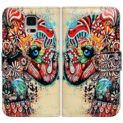 Bfun Packing Tribal Floral Elephant Wallet Leather Cover Case For Samsung Galaxy S5