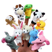 10x Cartoon Biological Animal Finger Puppet Plush Toys Child Baby Favour Dolls K5