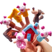 "New 8pcs/set ""the Three Little Pigs"" Animal Finger Puppet Toy Educational Toys Storytelling Doll"