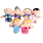 6pcs Family Finger Puppets Cloth Doll Baby Educational Hand Toy Story Kid Word