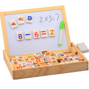 Child Multifunctional Wooden Box Double Faced Magnetic Drawing Board Puzzle Blocks Learning Toy Set