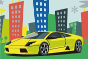 Diy oil painting, paint by number kits for kids - Cool car 20X30cm.