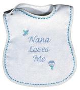 Raindrops Nana Loves Me Embroidered Bib, Blue