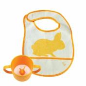 JJ Rabbit - Rabbit Cuppie and Bib Set - Rabbit - Orange