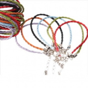 36x Mixed Charms Leather Plaited Bracelets Cords