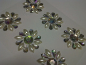 6 X 35mm Self Adhesive Diamante & Pearl Flowers Stick on Gems Wedding Craft