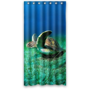 Cute and Funny Sea turtle 90cm x 180cm Polyester Fabric Waterproof Shower Curtain