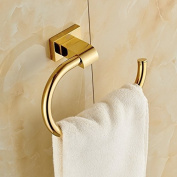 Gold Finish Brass Bath Towel Rack Wall Mount Clothes Hanger