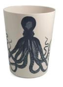 Trash Can Garbage Can Wastebasket Plastic Octopus Design Beach Bathroom Decor or Nautical Decor