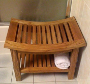 Curved Top Teak Stool with Rack