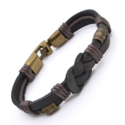 Authentic Tribal Leather Wristband Surf Black Mens Bracelet