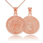 Fine 14k Rose Gold St Michael Medal Protection Charm US Air Force Reversible Pendant Necklace