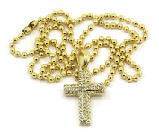Gold Plated Cross Charm Mini Micro Pendant Ball Chain Necklace Jewellery 002