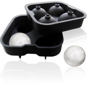 OnDaRox Silicone Ice Ball Maker - Chills Fast, Melts Slow - Lifetime Guarantee! BPA-Free Food Grade Silicone - Make Four Luxury Round Ice Balls in This Classic Black All-in-one Sphere Ice Mould - Large Capacity Ice Tray - Easy to Use, Easy to Clean, Ke ..