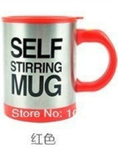 Automatic Electric Self Stirring Mug Coffee Mixing Drinking Cup Stainless Steel 350ml - Red
