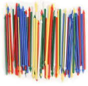 Pack of 200 Colourful Cocktail Spears, Plastic, Assorted Colours, 8.3cm Long