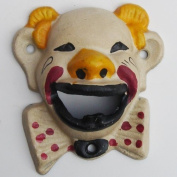 Clown Head Beer and Soda Bottle Opener Cast Iron Antique White