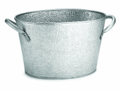 TableCraft Oval Stainless Steel Beverage Tub with Galvanised Pebbled Texture, 15 by 23cm by 19cm