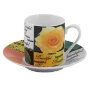 Garden Roses Porcelain Espresso Cup and Saucer Set 12 Pieces