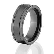 Black Bevelled Ceramic Rings, Ceramic Wedding Rings
