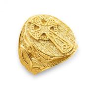 Men's 14k Yellow Gold Celtic Cross Trinity Knot Ring