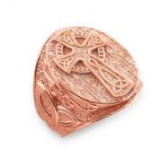 Men's 14k Rose Gold Celtic Cross Trinity Knot Ring