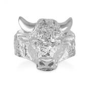 Men's Polished 925 Sterling Silver Diamond-Cut Band Taurus Bull Ring