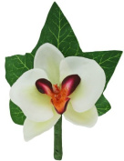 Tropical Silk Orchid Boutonniere White/Fuchsia - Wedding Boutonniere