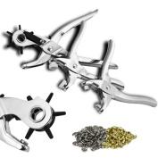 XtremepowerUS 3Pcs Leather Punch Snap Grommet Pliers Punching Kit Set