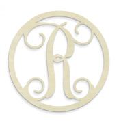 UNFINISHEDWOODCO Single Letter Circle Monogram-R, 48cm , Unfinished