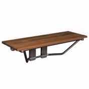 90cm Double Seat Folding Shower Bench Modern Finished Teak Wood Chrome Spa Bath
