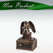 Small Angel with Cross Cremation Urn - Engravable