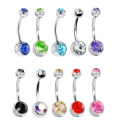 10 Belly Button Ring Lot Double Jewelled Belly Rings Surgical Steel 14 Gauge Crystal Gem