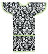 AM PM Kids! Sleeved Toddler Laminated Bib, Damask with Lime Green