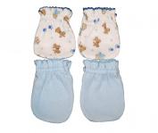 4 Pairs Cotton Newborn Baby/infant No Scratch Mittens Gloves - Little Dog + Blue