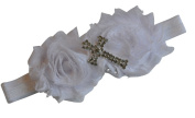 Christening Baptism Cross White Ivory Headband Baby Newborn Girl Goddaughter Granddaughter Gift