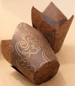 Golda's Kitchen Baking Cups - Tulip - Brown & Gold