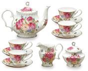 Gracie Bone China 11-Piece Tea Set, Pink Sandra's Rose