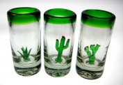 Shot Glasses, Three Amigos Cactus, Green Rim, Mexico