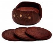 Drink Coasters Set - A Beautiful Retro Wooden Drink Coaster Holder Set with 6 Round, Unique, Natural Brown Decorative Table Coasters and a Cool, . Wood Coaster Holder Handmade in Indian Rosewood - Best for Tea Cups, Wine, Bar and Drinks Glasses, ..