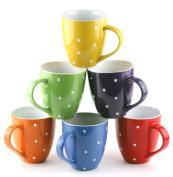 Francois et Mimi 470ml Ceramic Coffee Mugs, Large, Polka Dot, Set of 6