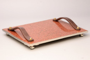 Cheese Tray with Genuine Leather Handles and Granite Top