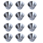 12 Polished Stainless Steel Portion Cups, Multi-purpose Ramekin Individual Sauce Cups, Condiment Sauce Cups, Sauce Ramekins, Dipping Sauce Cups