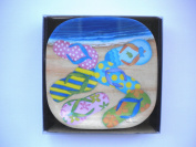 Beach Flip Flops Melamine Appetiser Tapas Cocktail Plates Boxed Set of Six