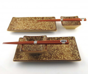 Japanese Sushi Tray Set for Two with Chopsticks, Sepia Karakusa