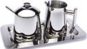 Frieling Stainless Steel Creamer, Sugar Bowl with Spoon and Tray Set
