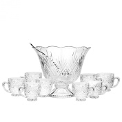 DUBLIN CRYSTAL 10 PIECE PUNCH SET-BOWL-LADLE-8 PUNCH CUPS