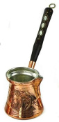 (SALE) Thickest Premier Engraved Turkish Greek Copper Coffee Pot Cezve Ibrik with Wooden Handle, Thick 1,5 mm