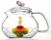 Glass Teapot Butterfly 24oz/710ml Pink colour Non-Drip with Infuser