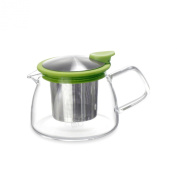 Forlife Bell Glass Teapot with Basket Infuser, 14-Ounce/430ml, Lime